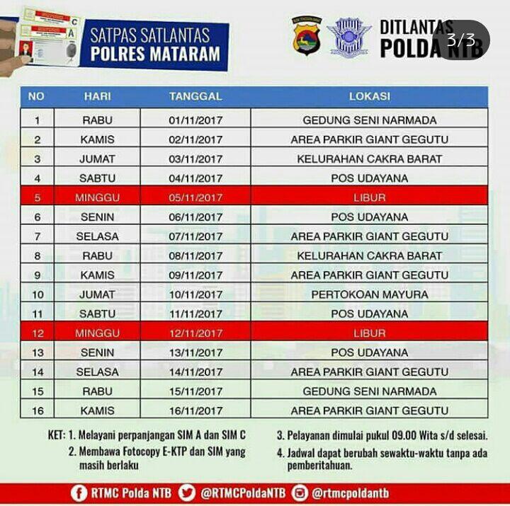 Lokasi Sim Keliling Mataram 6 November 2017 Ntmc Polri